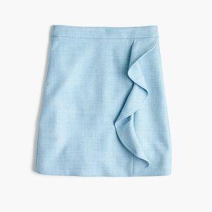 J CREW Ruffle Mini Skirt in Light Blue